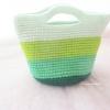 กระเป๋าถักไหมพรมสีเขียวสลับสี handbag crochet handmade