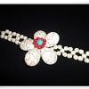 สร้อยข้อมือ เทอร์ควอยซ์ สังเคราะห์ ลายดอกไม้สีขาว te101