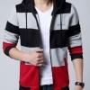 เสื้อ แจ็คเก็ต ผู้ชาย แบบ มีฮู้ด เสื้อกันหนาว ใส่เป็น เสื้อนอก แบบมีหมวก ดีไซน์ 3 สีสลับ แดง เทา ดำ เสื้อ Jacket แบบสวย ๆ ผ้า Cotton 220191