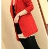 เสื้อสูท เสื้อแจ็คเก็ต ผู้หญิง สไตล์ สูท แขนยาว คอปก สีพื้น เสื้อคลุม สีแดง สำหรับสาวเปรี้ยว แบบสูท ตัวยาว สำหรับ สาวทำงาน ออฟฟิต 528189_1