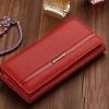 กระเป๋าสตางค์หนังแท้ ใบยาว กระเป๋าสตางค์ผู้หญิง สีพื้น ราคาถูกมาก สี ส้ม น้ำตาล แดง ฟ้า ม่วง ชมพู ดำ no 56036