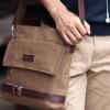 กระเป๋าสะพายข้างผู้ชาย ผ้าแคนวาส แนวตั้ง แบบเก๋ สไตล์วินเทจ สีดำ น้ำเงิน น้ำตาล และ เขียวทหาร no 90342