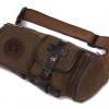 กระเป๋าคาดเอว ผ้าแคนวาส ผ้ายีนส์ แบบเท่ ๆ ดีไซน์ตกแต่งด้วยหนัง กระเป๋าคาดเอว ทรงกระบอก แบบเท่ ๆ 475100