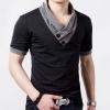เสื้อยืดผู้ชาย แบบมี ดีไซน์ เสื้อยืด แฟชั่น ผู้ชาย ออกแบบ เป็น คอวี ส่วนคอ สลับสีกับ เสื้อ เพิ่มความเก๋ ส่วนแขน พับ 2 สี สีดำ 137098