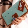กระเป๋าสตางค์ผู้หญิง กระเป๋าสตางค์ใบยาว หนัง pu แฟชั่น เกาหลี ซิปรอบ ห้อยป้ายหนัง คลาสสิค ลายดอกไม้รอบใบ สีฟ้าอ่อน สดใส 742581_3
