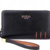 กระเป๋าสตางค์ หนังแท้ Polo ใบยาว 2 ซิป ผู้หญิง ผู้ชาย สีดำ ดีไซน์ ลายไม้ เรียบหรู สุขุม สไตล์นักบริหาร เป็นเอกลักษณ์ ใส่บัตรได้ จุใจ no 4813837_1