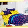 ชุดผ้าปูที่นอน ขนาด 6 ฟุต 5 ชิ้น พร้อม ผ้านวมหนานุ่ม สีน้ำเงิน สลับ เหลือง จี๊ดจ๊าด ลายลิปติก sn003