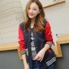 เสื้อ แจ็คเก็ต ผู้หญิง สไตล์ เสื้อ เบสบอล เสื้อ Jacket สีน้ำเงิน ตัดกับ แขนสีแดง แบบสวย เสื้อคลุม ใส่เที่ยว ใส่เรียน แบบน่ารักสไตล์ เกาหลี 814538