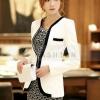 เสื้อสูท เสื้อแจ็คเก็ต เสื้อคลุม แบบสูท แขนยาว สีขาว ตัดขอบ เพิ่มมิติ ด้วยสีดำ เสื้อคลุมสไตล์สูท สำหรับ สาวนักบริหาร 22114