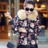 แฟชั่นกันหนาว เสื้อกันหนาว แบบนวม นุ่ม เสื้อ jacket ลายดอกกุหลาบ แบบมี ขนเฟอร์ เสื้อกันหนาว ไฮโซ แบบสวย ๆ 342137