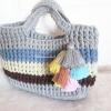 กระเป๋าถักโครเชต์สีเทาสลับสี handbag crochet