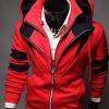 เสื้อ แจ็คเก็ต ผู้ชายแขนยาว มีฮู้ด เสื้อหมวก ใส่ กันหนาว กันลม เสื้อ Jacket ผู้ชาย แบบมีหมวก สีแดง ดีไซน์ ซิป 2 ชัั้น มีสไตล์ เท่สุด ๆ 506734