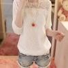 เสื้อแฟชั่น ใส่เที่ยว ผู้หญิง เสื้อ แขนยาว ผ้าชีฟอง ดีไซน์ หวาน ๆ สีขาว ใส่น่าร้อน เสื้อวัยรุ่น ด้านบนแต่งลาย ฉลุ เสื้อใส่เที่ยว แบบมีดีไซน์ 816696_1