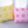 หมอนอิงลายกุหลาบสีเหลือง ชมพู ถักโครเชต์ yellow and pink Pillow crochet 12*12 inch
