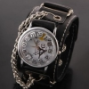 นาฬิกาข้อมือ หนังแท้ สไตล์ สาวร็อค ชาวร็อค ของขวัญวัน ฮาโลวีน นาฬิกาข้อมือแบบพังค์ สีดำ หน้าปัด สีขาว no 577936