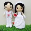 """ตุ๊กตาถัก คนแต่งงาน 9"""" (3)"""