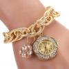 นาฬิกาข้อมือผู้หญิง สร้อยข้อมือโซ่ทอง ห้อย จี้ นาฬิกา ฝังเพชร CZ สุดหรู ใส่ออกงาน ใส่เล่น ใส่เที่ยว เก๋ ๆ นาฬิกาแฟชั่น แบบสร้อยข้อมือทอง 293125