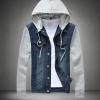 เสื้อ Jacket ยีนส์ แจ็คเก็ตยีนส์ ผู้ชาย แขนยาว ดีไซน์ เป็น ยีนส์ ผสม กับ ผ้า Cotton มี ฮู้ด ถอดเข้าออกได้ แบบเก๋ ไม่เหมือนใคร สียีนส์เข้ม 959829