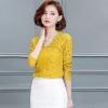 เสื้อผ้าลูกไม้ สีเหลือง เสื้อผู้หญิง ผ้าลูกไม้ สีเหลือง คอวี เสื้อลูกไม้ แขนยาว คอกว้าง แบบเก๋ ๆ มีดีไซน์ แบบเปรี้ยวเล็กน้อย ใส่ออกงาน ใส่เที่ยว 25961_1
