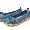 รองเท้าหุ้มส้น ผู้หญิง รองเท้าหนังแท้ รองเท้าวัยรุ่น หวาน ๆ แต่งดอกไม้ รุ่น เจาะรู ระบายอากาศ สีน้ำเงิน สีเหลือง 443431