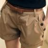 กางเกงขาสั้น ผู้หญิง กางเกงแฟชั่น กางเกงจับจีบ ใส่เที่ยว กางเกงขาสั้น แต่งกระดุม ที่ กระเป๋ากางเกง 2 ข้าง สีน้ำตาลอ่อน กากี 334841