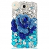 เคสโทรศัพท์ เคส Samsung Galaxy Note 2 N7100 เคส Hand made 3 D ติดคริสตัล กุหลาบ สีน้ำเงิน อันใหญ่ โทนสีฟ้า และ เงิน สวยหรู มากค่ะ 248757