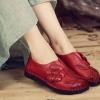 รองเท้าหุ้มส้น ผู้หญิง รองเท้าหนังแท้ รองเท้าคัทชู แบบหนัง สไตล์ วินเทจ หนังนิ่ม แต่งลายดอกไม้ ด้านหน้า รองเท้าผู้หญิง ใส่เที่ยว 773604