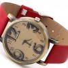 นาฬิกาข้อมือ ผู้หญิง สายหนัง สไตล์วินเทจ ตัวเลข คลาสสิค มี 3 สี สีแดง สีเขียว และ สีดำ ระบบ อนาล๊อค no 544331