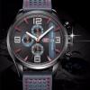 นาฬิกาข้อมือ ผู้ชาย นาฬิกาสายหนังแท้ นาฬิกา แบบมีระบบวันที่ หน้าปัด สีฟ้า สีเทา สีดำ มีระบบวินาที นาฬิกาหนุ่มออฟฟิต เท่ ๆ 956661
