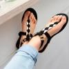 รองเท้าแตะ ผู้หญิง แบบมี รัดส้น สีดำ เปิดเท้า ตกแต่งลวดลายสีทอง รองเท้าแตะสีดำ no 134267