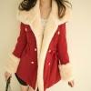 เสื้อโค้ท เสื้อกันหนาว ผู้หญิง เสื้อขนเฟอร์ น่ารัก ๆ สไตล์เกาหลี หนานุ่ม อุ่นสบาย เสื้อโค้ทใส่ไปเมืองนอก ไฮโซ สีแดง 65600