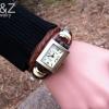 นาฬิกาข้อมือผู้หญิง นาฬิกาข้อมือสายหนัง หน้าปัด สี่เหลี่ยม คลาสสิค สไตล์วินเทจ สีน้ำตาล นาฬิกาสายหนังถัก ร้อยห่วงเงิน งาน Hand made 6090532