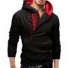 เสื้อ แจ็คเก็ต ผู้ชายแขนยาว เสื้อกันหนาว แบบสวม มีฮู้ดด้านหลัง เสื้อหมวก สีดำ ตัดกับ สีแดง ด้านใน เสื้อวัยรุ่น แขนยาว เก๋ ๆ ใส่เที่ยวเหนือ 88604