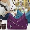 กระเป๋าสะพายข้างผู้หญิง กระเป๋าถือ ผ้าไนลอน กระเป๋าวัยรุ่น ยอดนิยม แต่งซิปหน้า สีม่วง สีเขียว สีแดง สีดำ สีน้ำเงิน 838367