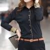 เสื้อเชิ้ตผู้หญิง เสื้อเชิ้ิตแขนยาว เสื้อเชิ้ตใส่ทำงาน แขนยาว พับด้านใน เป็นลายเสือ เสื้อเชิ้ตสีดำ ใส่ไปงาน ทำงาน สีสุภาพ ใส่ได้ทุกวัน 134029_1