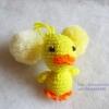 ที่ห้อยกระเป๋า พวงกุญแจตุ๊กตา เป็ดเหลือง yellow duck dolls pom pom amigurumi crochet keychain