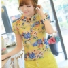 เสื้อเชิ้ตผู้หญิง ลายดอกไม้ แขนสั้น พอดีไหล่ ดีไซน์คอ คล้ายเข็มขัด เหมาะกับ ผู้หญิงตัวเล็กนะคะ เสื้อลายดอกไม้ สีเหลือง 360228_2