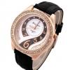 นาฬิกาข้อมือผู้หญิง สายหนัง สีดำ เพิ่มความหรูหรา ด้วย คริสตัล เพชร ล้อมหน้าปัด ดีไซน์ เพชรด้านใน สวยหรู 44728