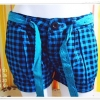 กางเกงขาสั้น ลายสก๊อต สีฟ้า EDC made in Hongkong