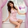 ชุดนอนเซ็กซี่สีชมพู เป็นผ้ามันลื่น กางเกงในจีสตริงทำเป็นระบาย