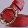 เข็มขัดหนังแท้ เข็มขัดผู้หญิง สีแดง สาวเปรี้ยว สไตล์วินเทจ แบบเท่ ๆ เข็มขัดหนังวัว ปั้มลาย แกะลายหัวเข็มเป็นรูป ดอกไม้ 518822_2