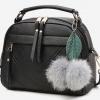 กระเป๋าสะพายข้าง ผู้หญิง ขนาดเล็ก กระเป๋าถือหนัง ทรงครึ่งวงกลม แบบสวย น่ารัก ห้อยขนเฟอร์ และ ใบไม้ สไตล์ สาววินเทจ 747002