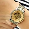 นาฬิกาข้อมือ โชว์กลไก Mechanical watch นาฬิกาข้อมือผู้ชาย สาย Stainless steel แบบไม่ต้องใส่ถ่าน หน้าปัดสีทอง โชว์ความหรูหรา 92826_1