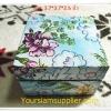 กล่องไม้ ใส่เนคไท ลายดอกไม้สีฟ้า งาน Handmade