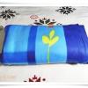 ผ้าห่ม ผ้าสำลี เนื้อนุ่ม 5 ฟุต สีฟ้าลายดอกไม้เหลือง