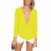 เสื้อผ้าชีฟอง แขนยาว เสื้อแฟชั่น ผู้หญิง ผ้าชีฟอง ดีไซน์ ซิปรูด สามารถปรับความลึกของคอเสื้อ ได้เอง สีพื้น สีเหลือง สด สาวเปรี้ยว 245334_4