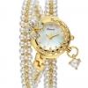 นาฬิกาข้อมือ นาฬิกาผู้หญิง สร้อยข้อมือ นาฬิกา สุดหรู ตกแต่ง ด้วยไข่มุก พัน ข้อมือ 2 รอบ ติดเพชร CZ ติดคริสตัล รูปผีเสื้อ สีทอง เงิน ดำ 59786