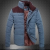 เสื้อกันหนาวผู้ชาย เสื้อคลุมผู้ชายแขนยาว สไตล์ แจ็คเก็ตนวม หนานุ่ม อุ่นสบาย ผ้า 2 ชั้น คอตั้ง ดีไซน์ สีทูโทน สีฟ้า no 563247_1
