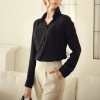 เสื้อเชิ้ตผู้หญิง เสื้อเชิ้ต แขนยาว คอปก ตัวหลวม ๆ เสื้อเชิ้ตผ้าซีฟอง สีฟ้า สีดำ สีแดง 7437231