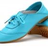รองเท้าหุ้มส้น ผู้หญิง รองเท้าหนังแท้ ใส่ทำงาน ใส่เที่ยว ก็เท่ได้ ดีไซน์ เชือกผูกด้านหน้า พื้นยาง อย่างดี สินค้าลดราคาพิเศษ สีฟ้า 302114